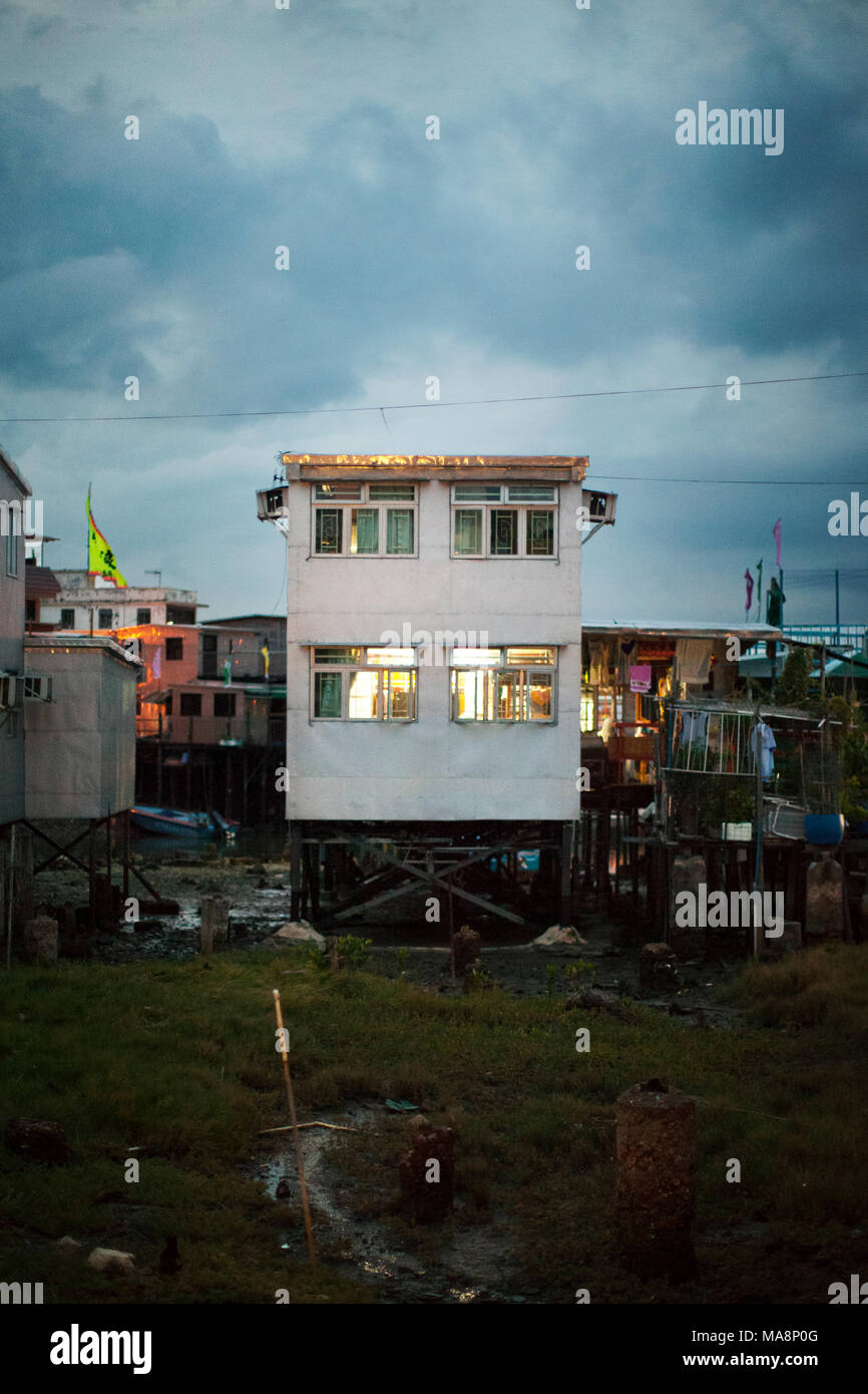House on stilts in the fishing village of Tai O, Hong Kong - Stock Image