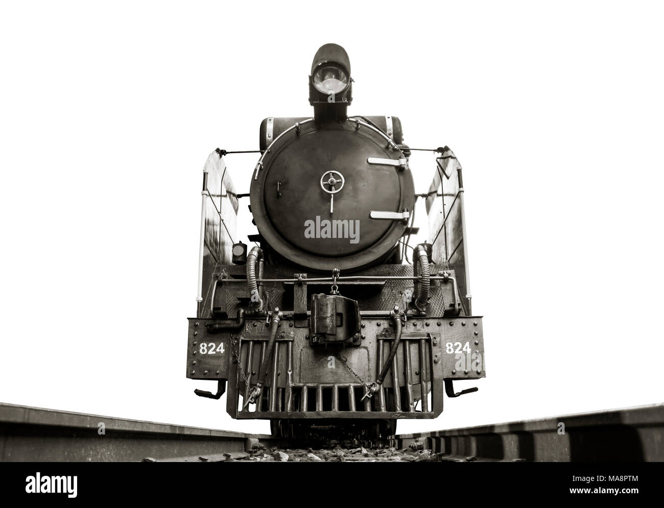 Low Angle Shot Front Of Image Black And White Retro Vintage Style Train Old Steam