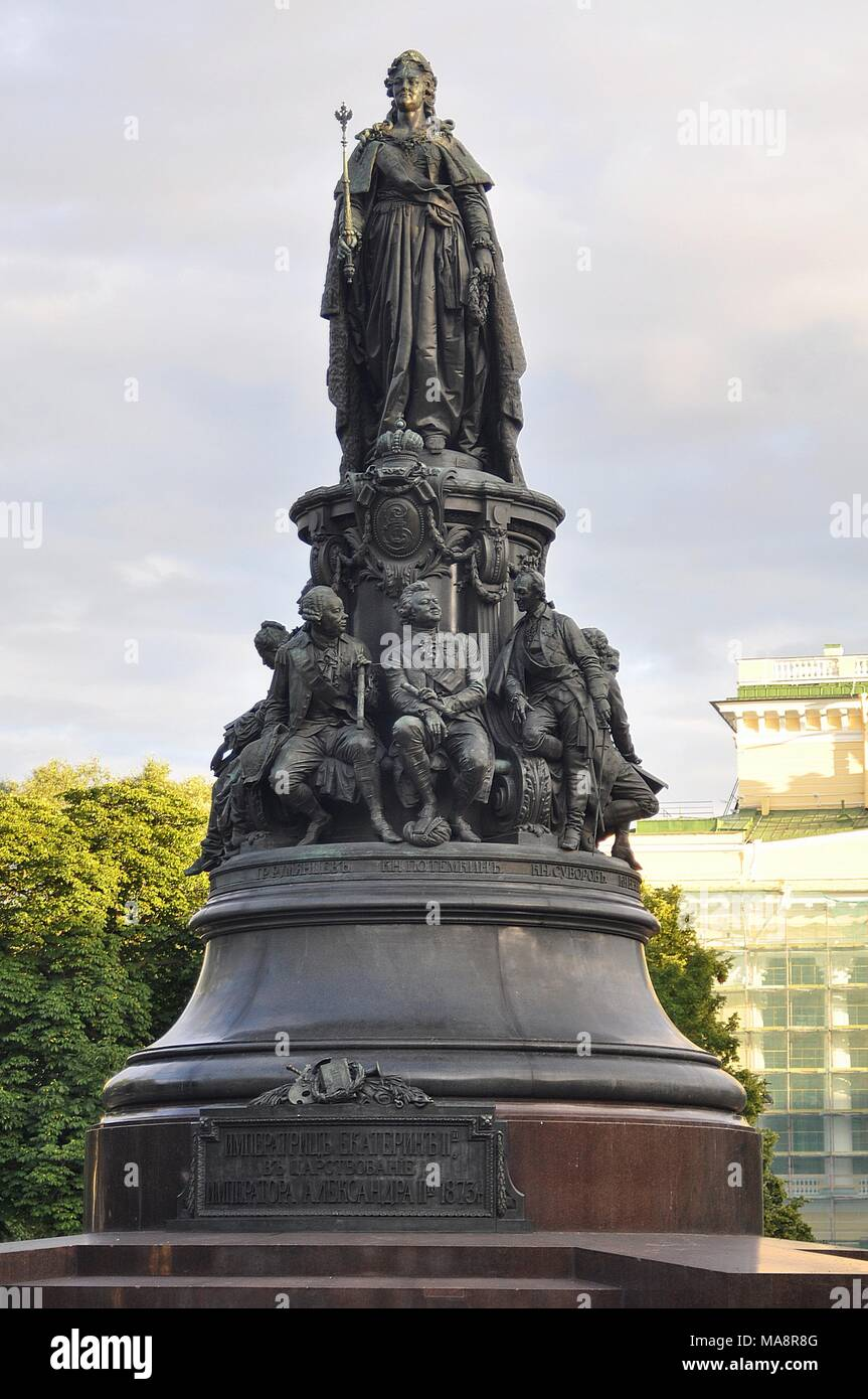 MONUMENT OF CATHERINE THE GREAT IN ST.PETERSBURG Stock Photo