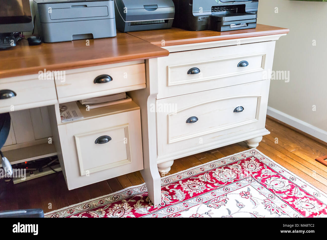 Simple Wooden Home Office Room Drawers In House Closeup In Staging Model  Apartment, Home, Carpet, With Chair And Decorations