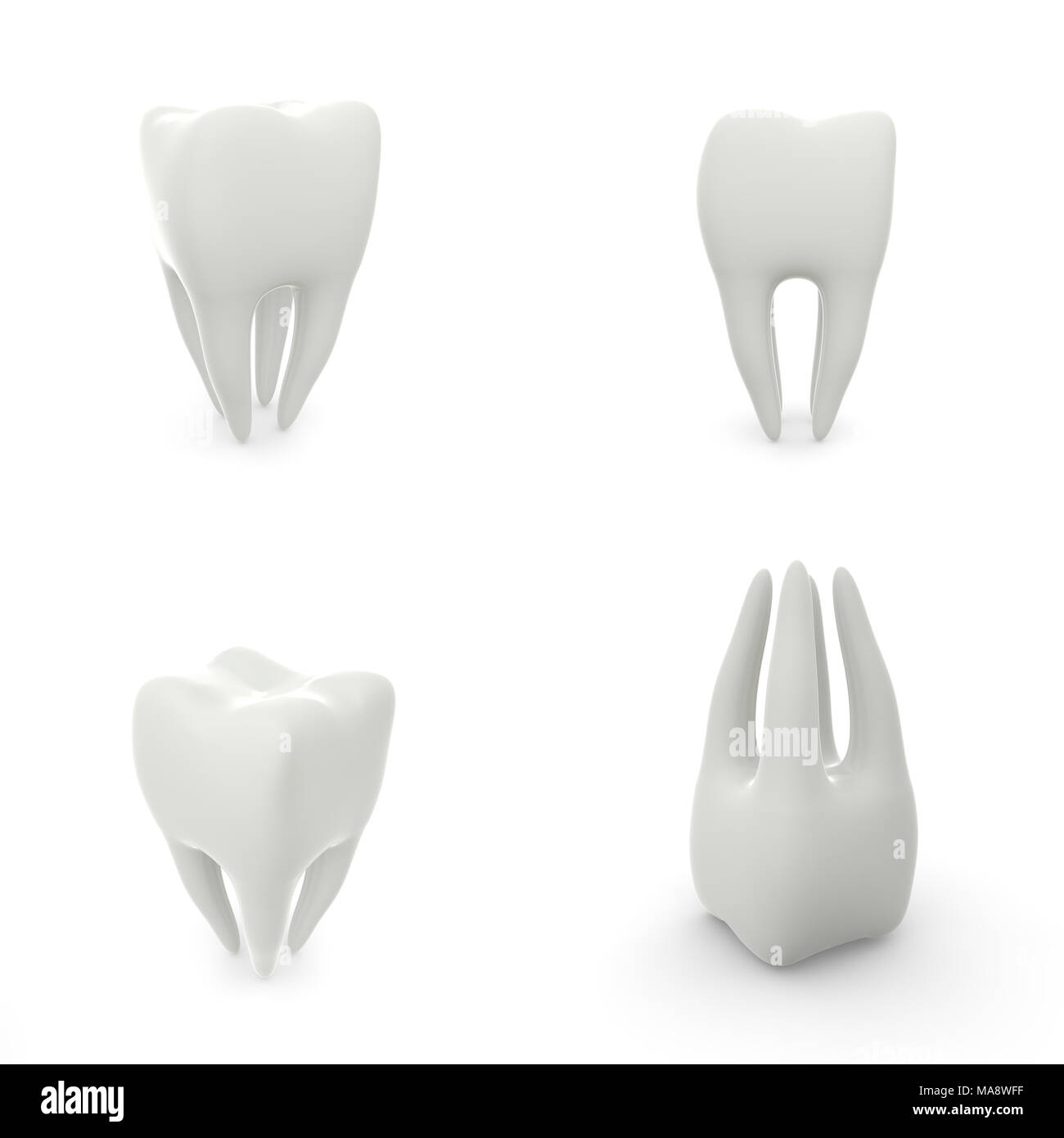 Set of tooth patterns on white isolated background. 3D illustration - Stock Image