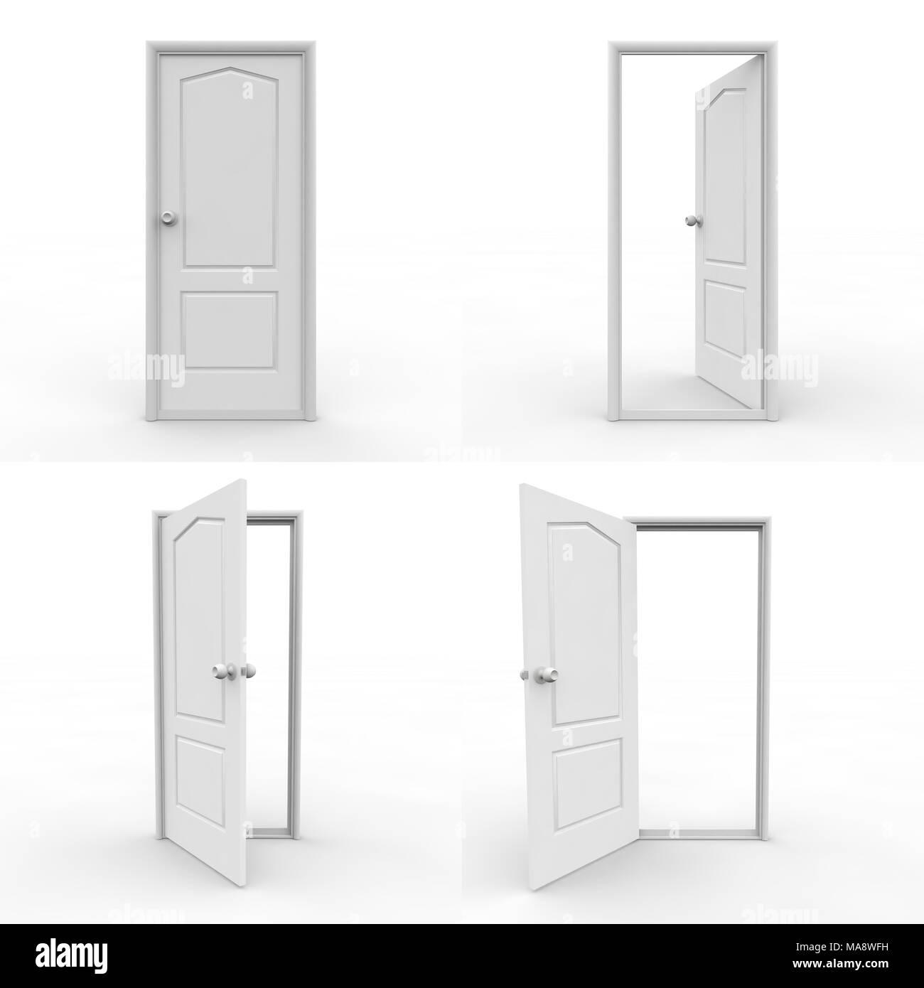 Set of wooden doors on white isolated background. 3D illustration Stock Photo