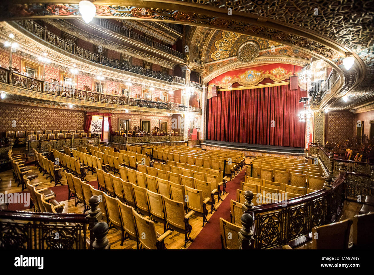Inside historic Teatro Juarez, Zona Central, Guanajuato, Mexico Stock Photo