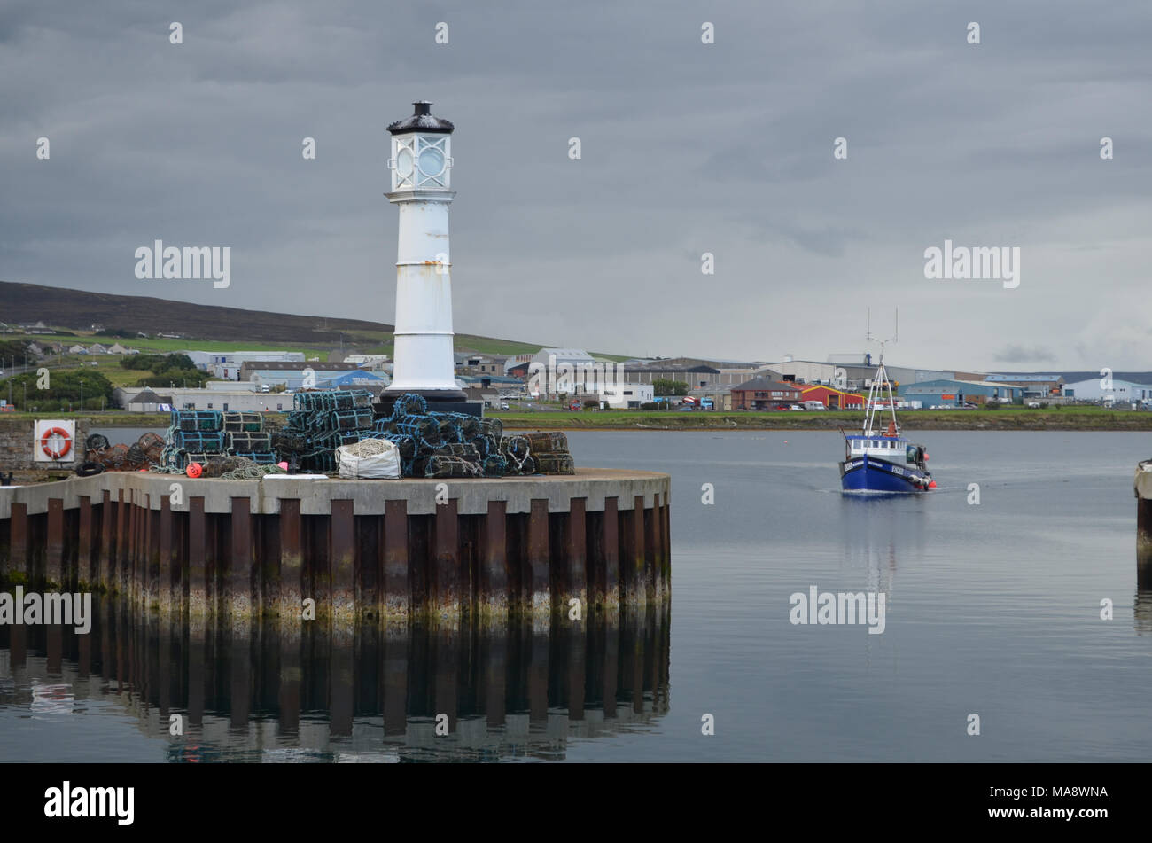 Harbour and inshore fishing fleet in Kirkwall, Mainland island, Orkney (Scotland) Stock Photo