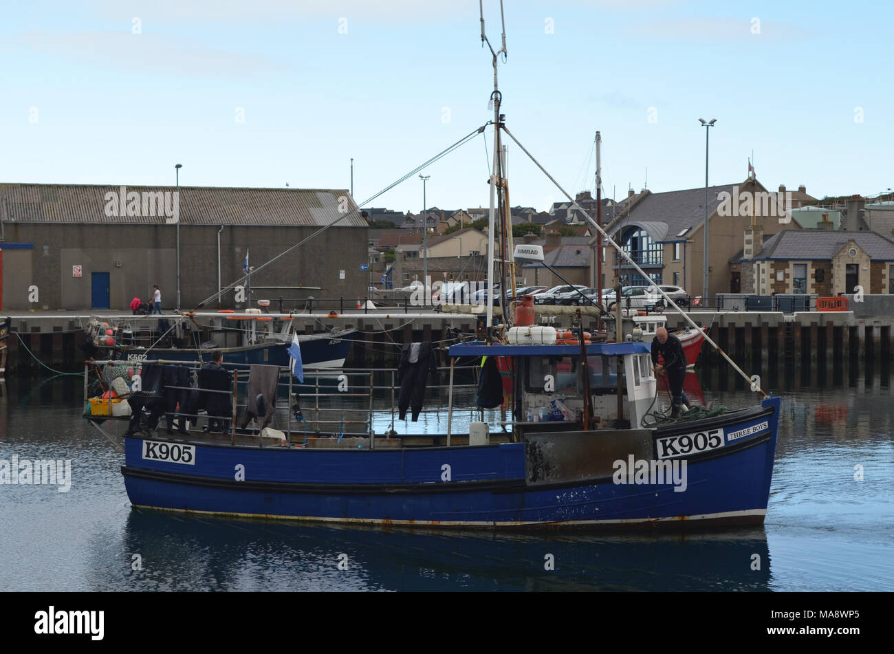 Harbour and inshore fishing fleet in Kirkwall, Mainland island, Orkney (Scotland) - Stock Image