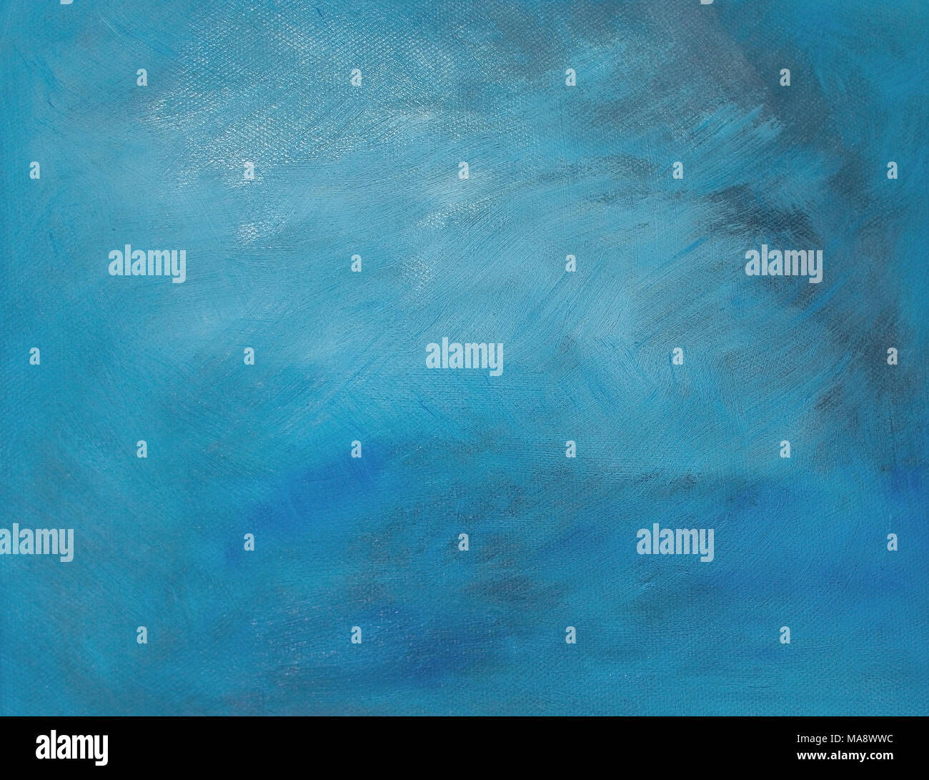 Turquoise oil painting canvas background copy space texture - Stock Image