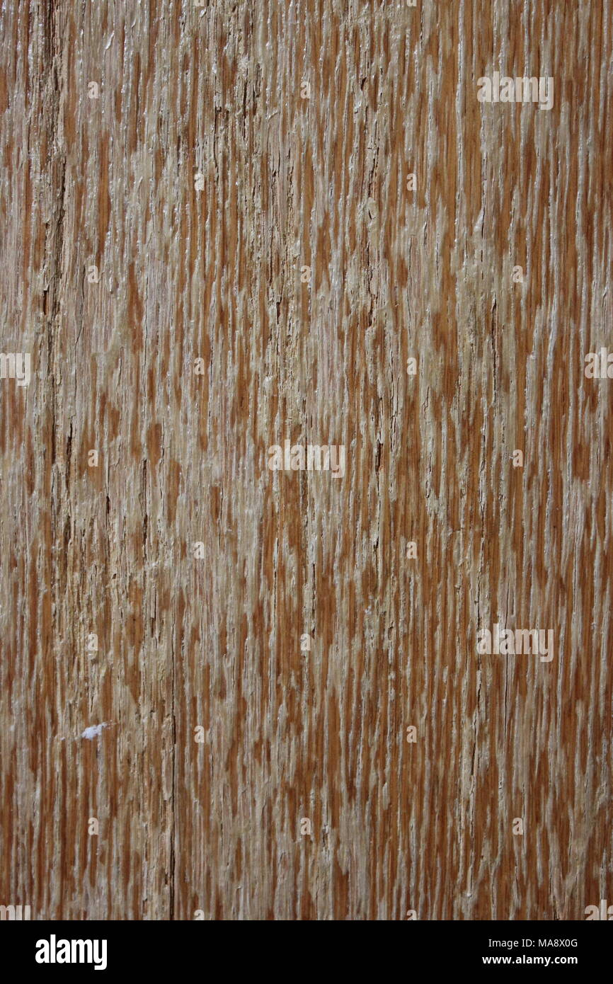 Antique varnished wood with flaking mistreatment due to years of indoor exposure and weathering - Stock Image