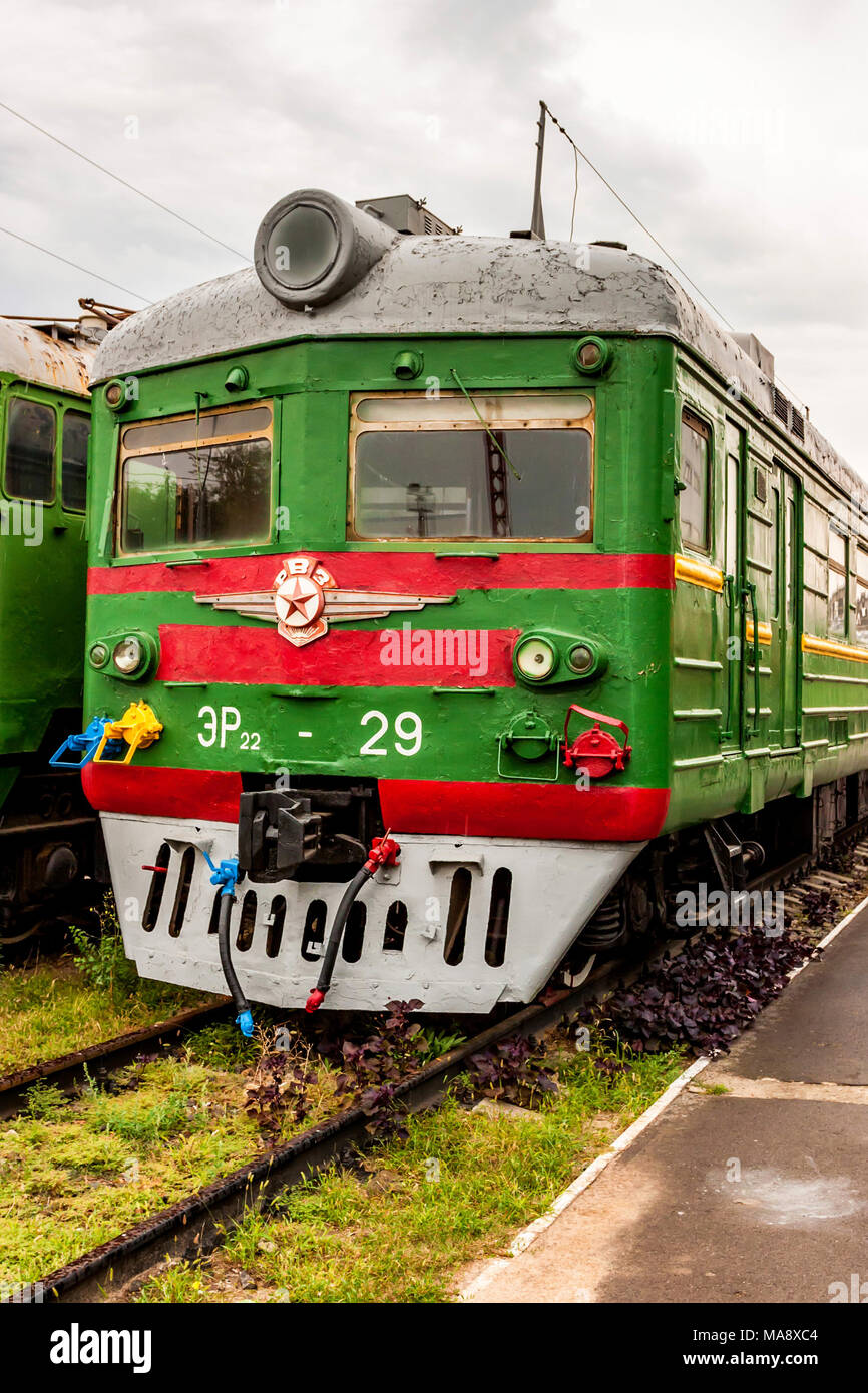 ROSTOV-ON-DON, RUSSIA - SEPTEMBER 1, 2011: ER22-29 locomotive in railway museum - Stock Image
