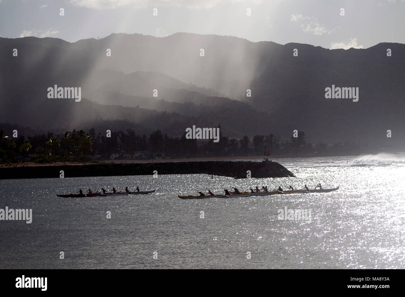 Outrigger canoes on the North Shore of Oahu near Haleiwa. - Stock Image