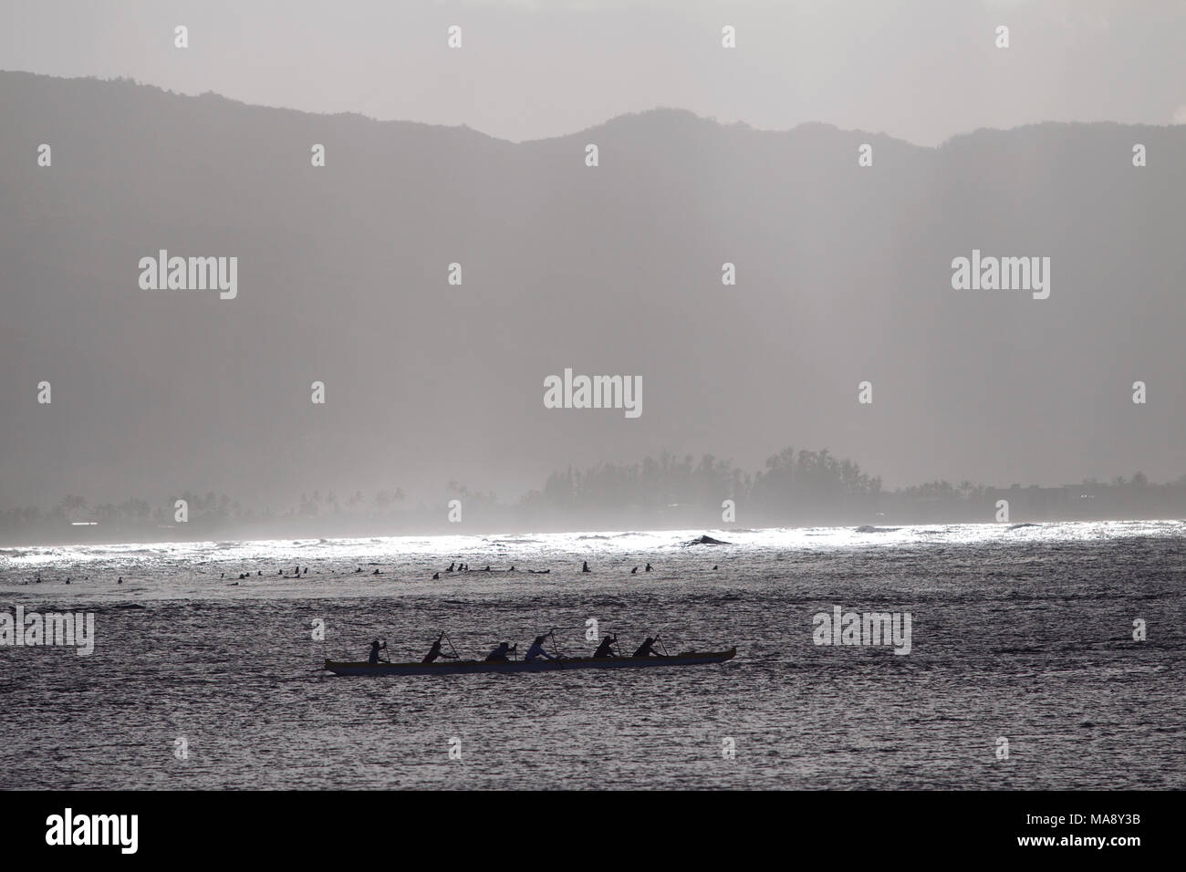 Outrigger canoes on the North Shore of Oahu near Haleiwa. Stock Photo