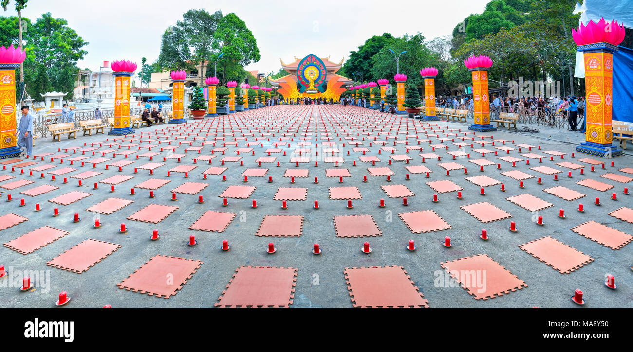 Buddhist party came prepared with hundreds candles lined Buddhists seat side prepare candles ceremonial Amitabha revered - Stock Image