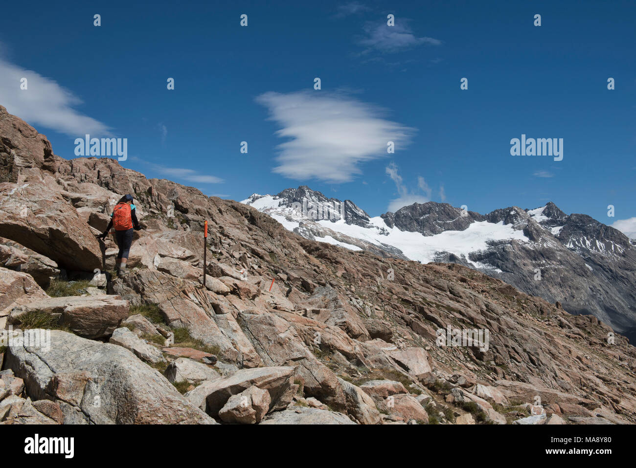 Hiking the Mueller Hut Track, Southern Alps, New Zealand - Stock Image