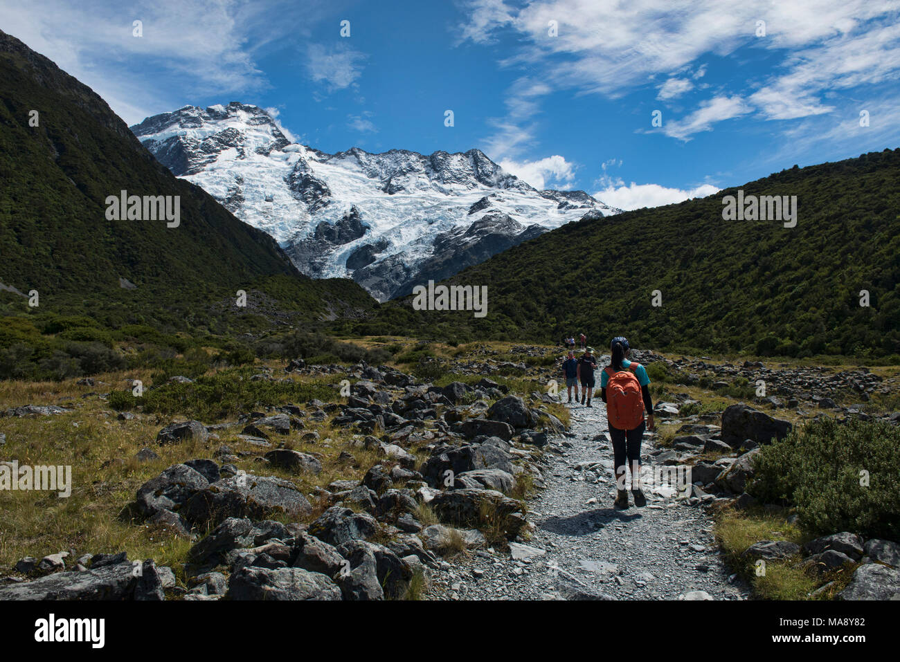 Trekking the Mueller Hut Track, Southern Alps, New Zealand - Stock Image