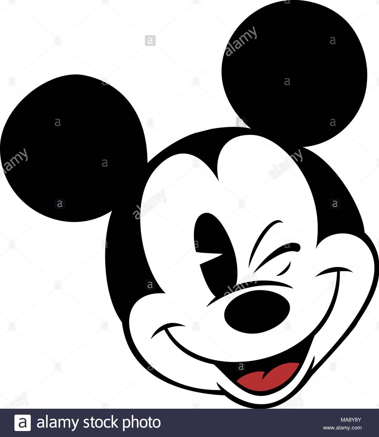 Mickey Mouse Head Character Cartoon Winking Eye Illustration Vintage Luggage Tag