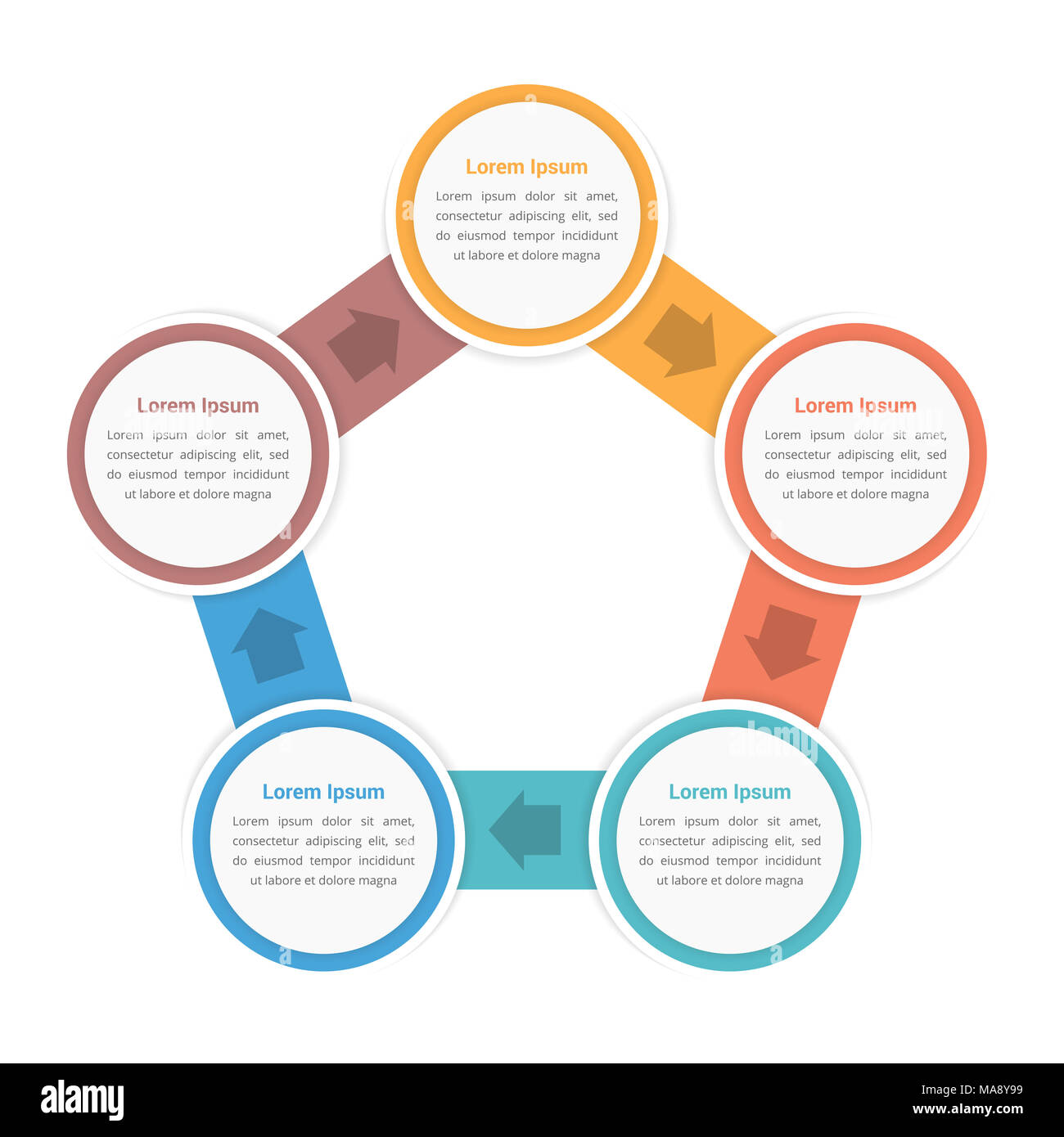Circle Diagram Infographic Template With Five Steps Or Options - Workflow process template