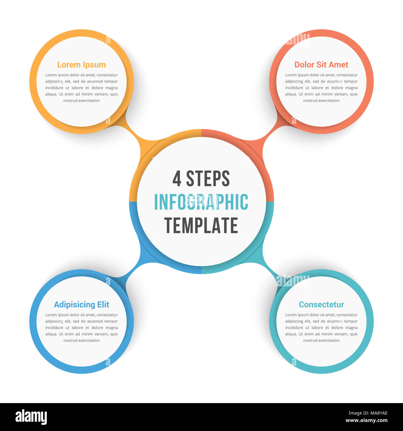 Circle Diagram Infographic Template With Four Steps Or Options - Workflow process template