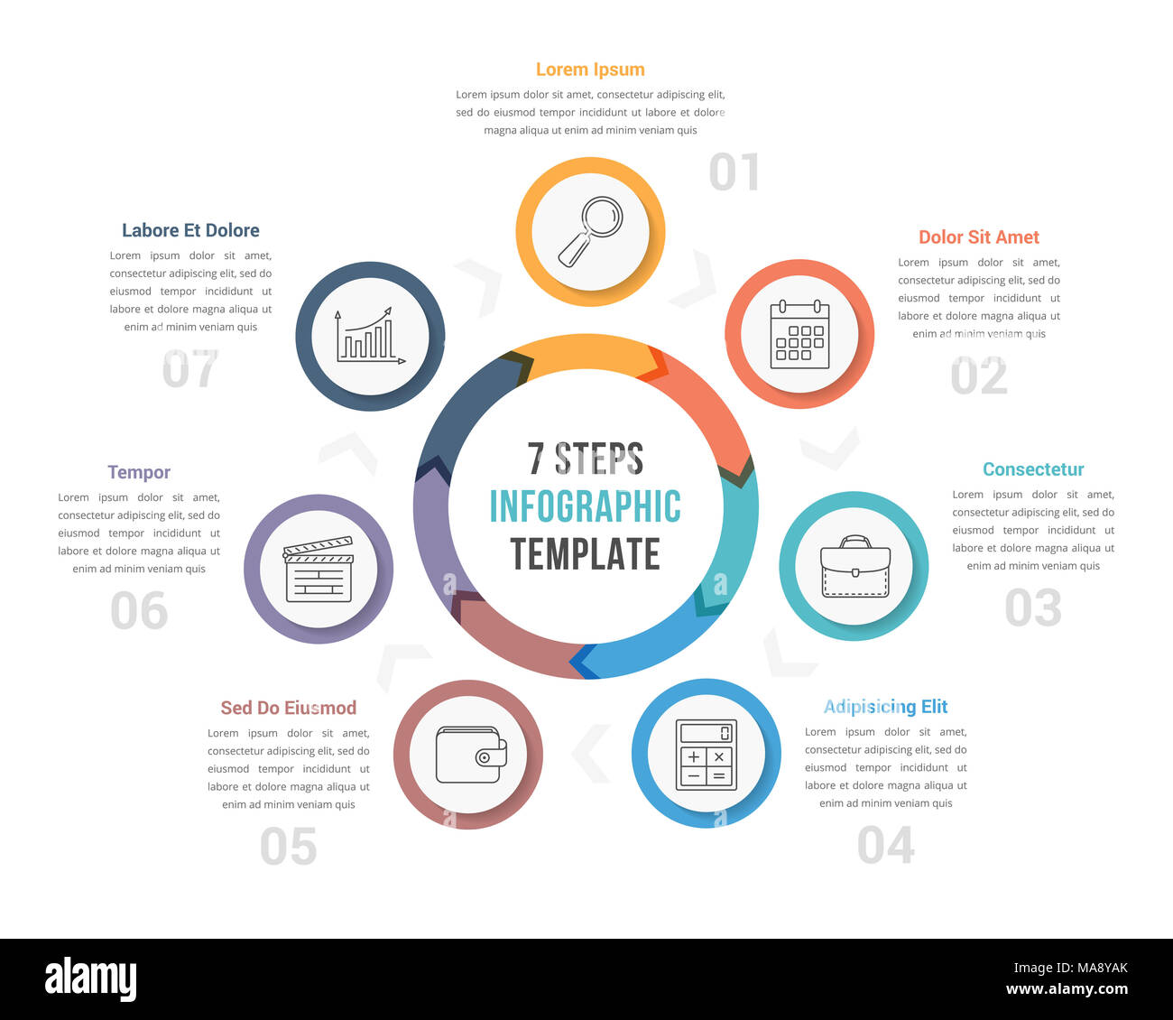 Circle diagram infographic template with arrows with seven steps circle diagram infographic template with arrows with seven steps workflow process vector eps10 illustration ccuart Images