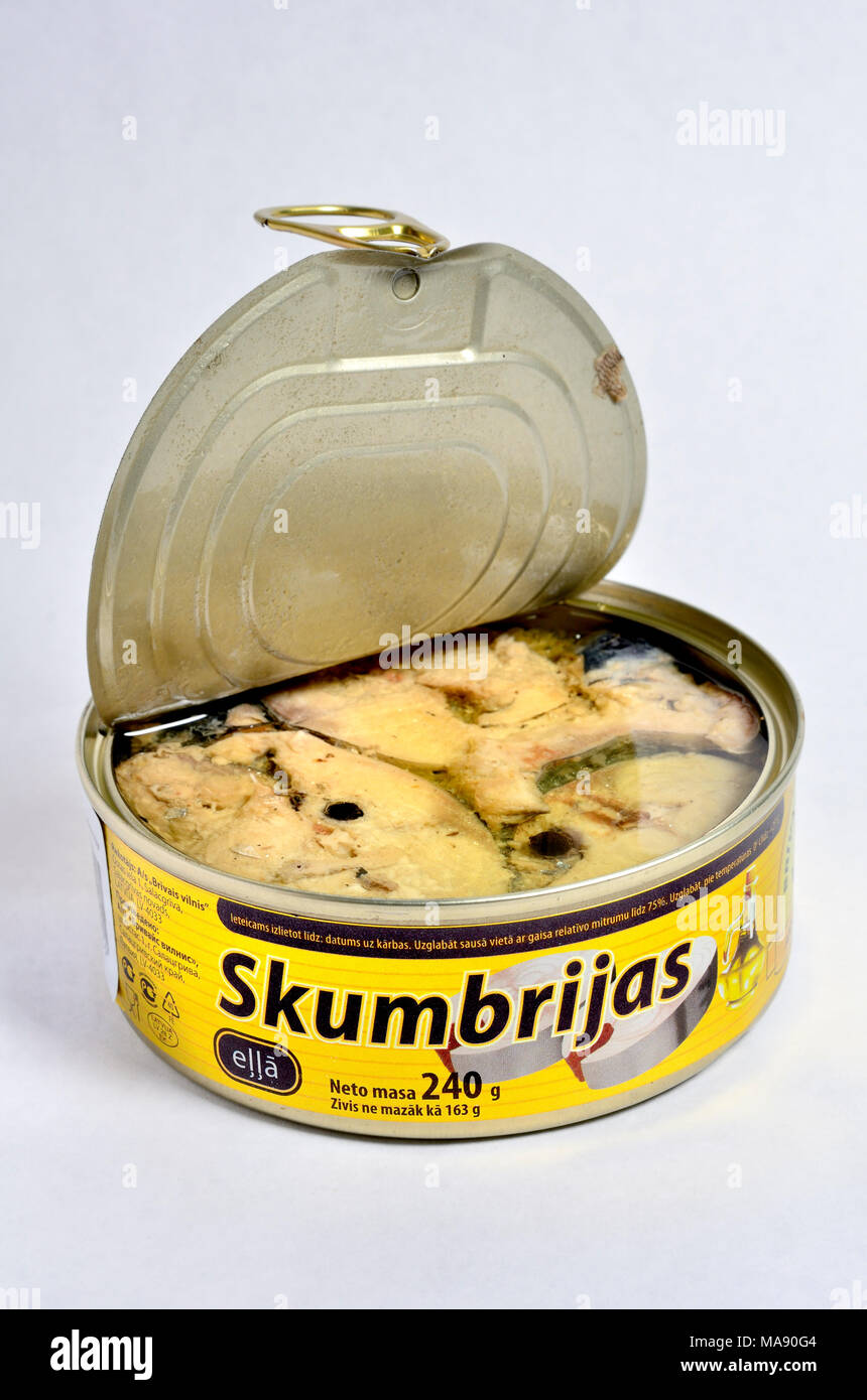 Tinned mackerel from Latvia (Latvian - Skumbrijas) - Stock Image