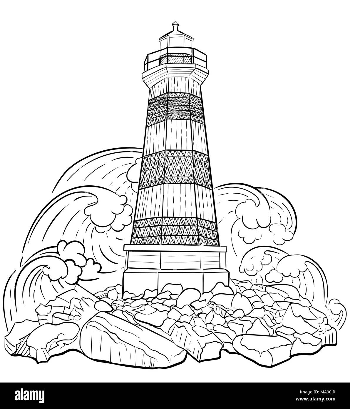 Hand Drawn Artistically Ethnic Ornamental Patterned Lighthouse Zentangle Tribal Style For Adult Coloring Book