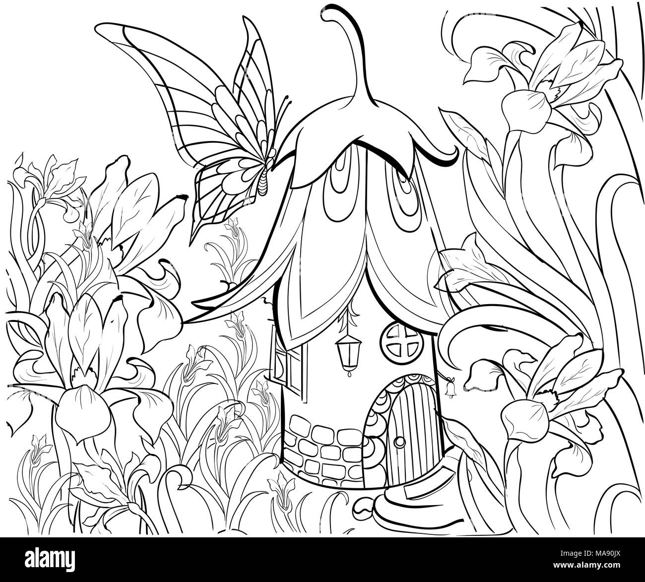 Fairy House For Coloring Book Floral Elements Butterfly And Flowers Anti Stress Adult Tattoo Stencil Zentangle Style Black Whit