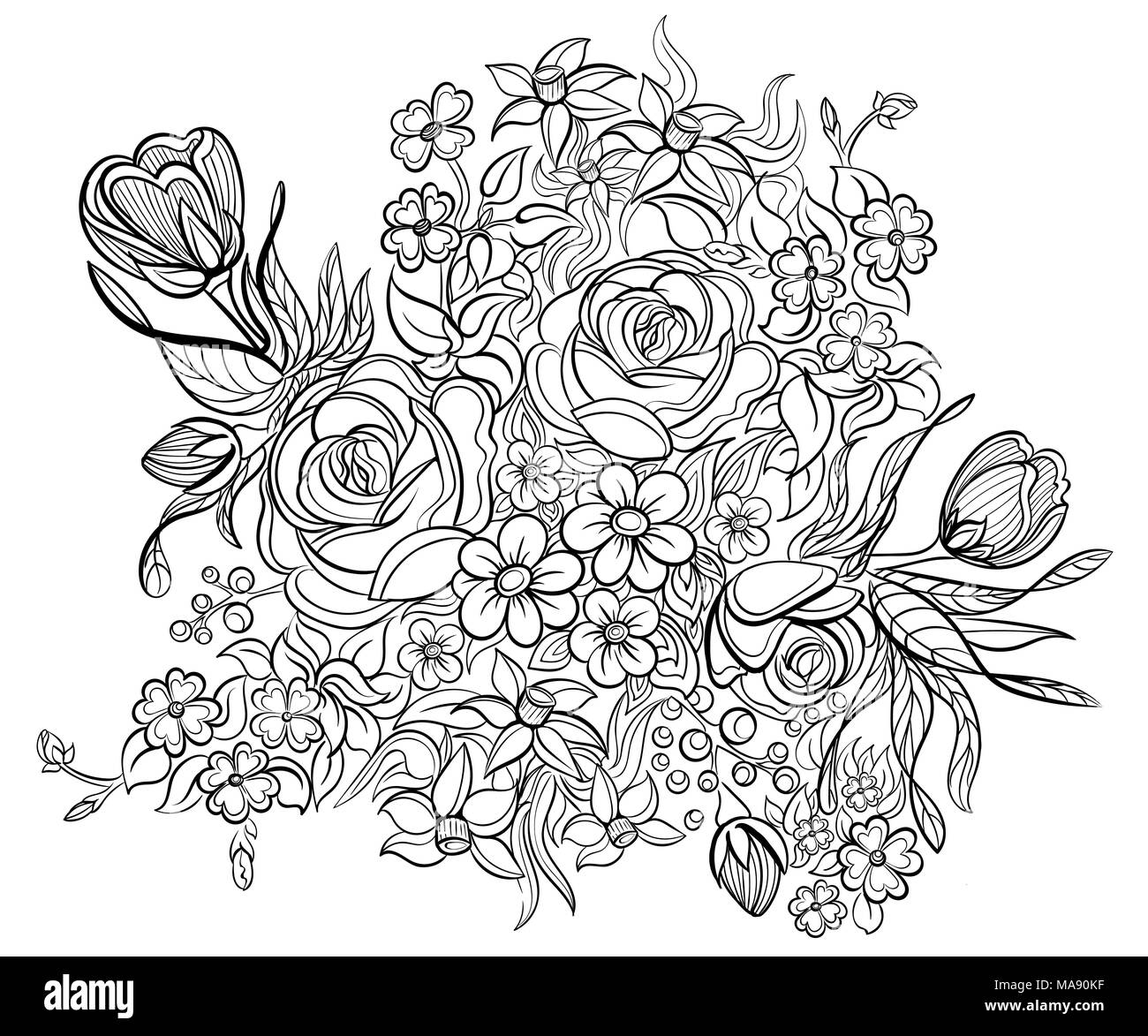 Floral Elements And Leaves For Coloring Book Anti Stress Coloring