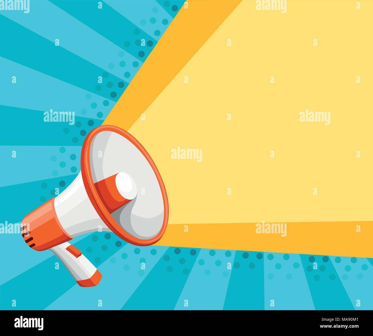 Colorful white megaphone. Bullhorn for amplifying the voice for protests rallies or public speaking. Vector illustration on turquoise background. Web  - Stock Vector