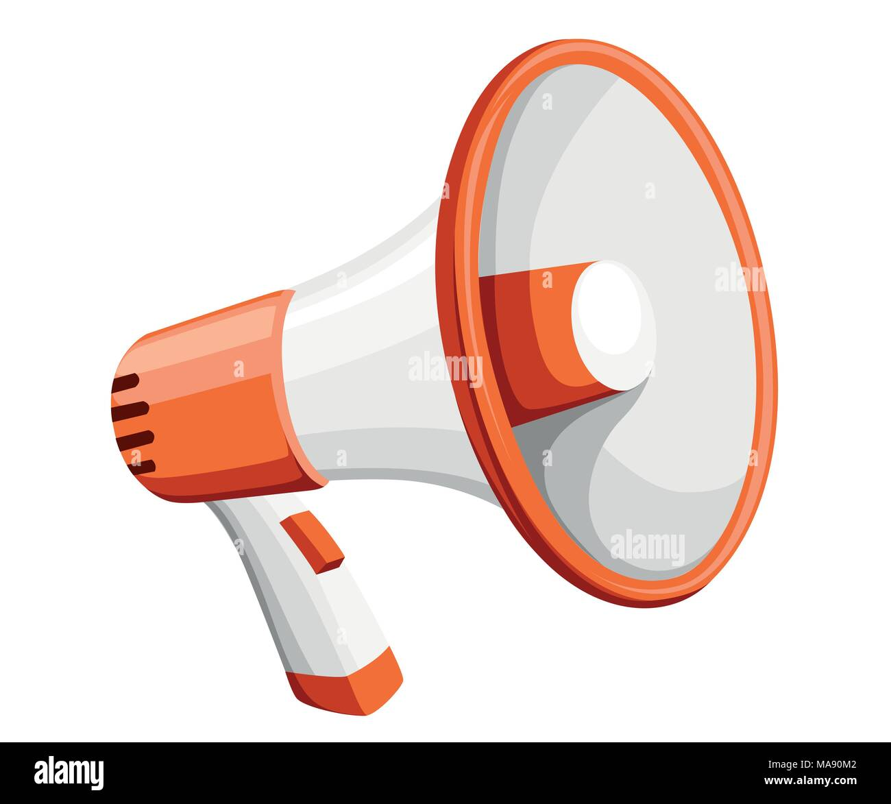 Colorful white megaphone. Bullhorn for amplifying the voice for protests rallies or public speaking. Vector illustration isolated on white background. - Stock Vector