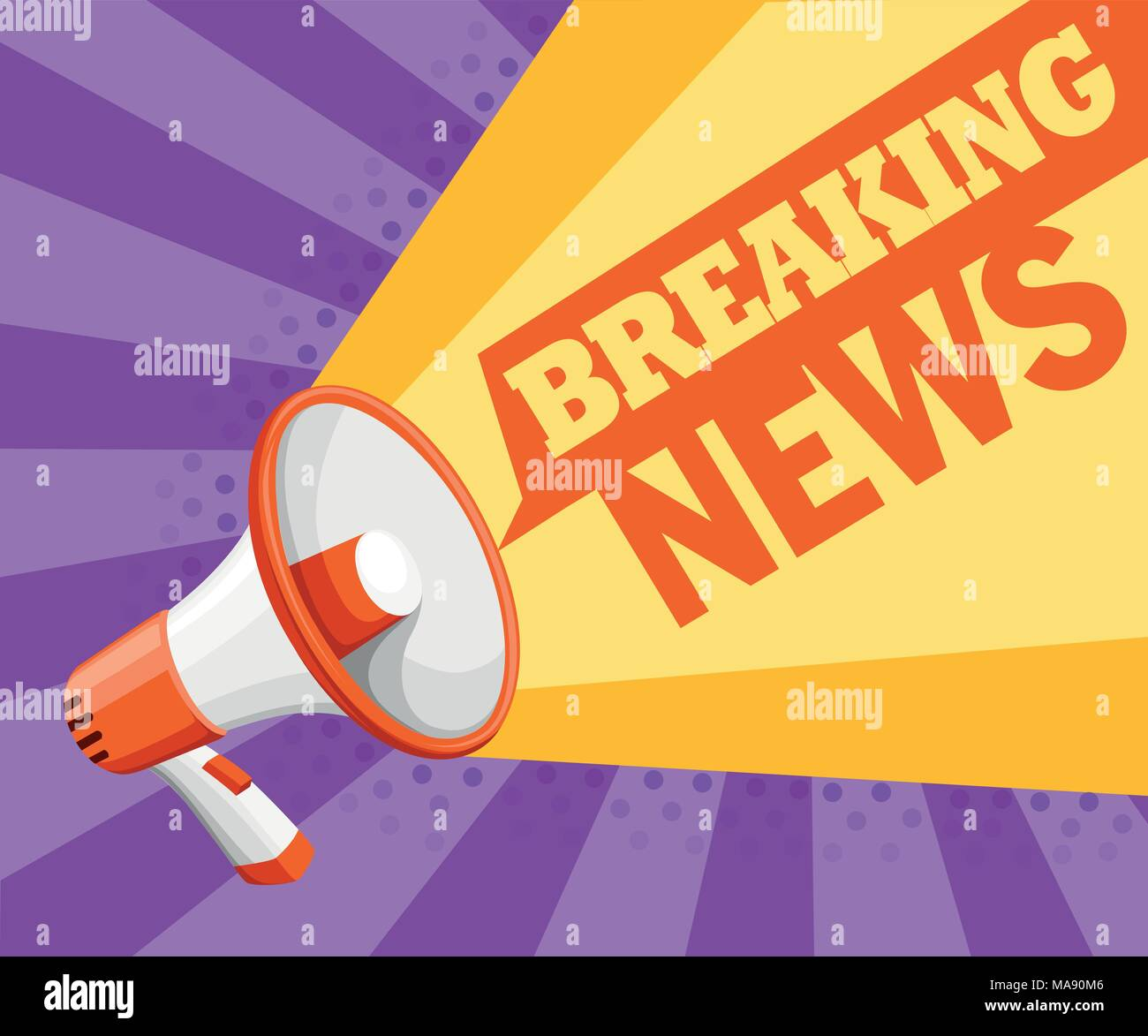 Colorful white megaphone. Bullhorn for amplifying the voice for protests rallies or public speaking. Breaking news concept. Vector illustration on pur - Stock Vector