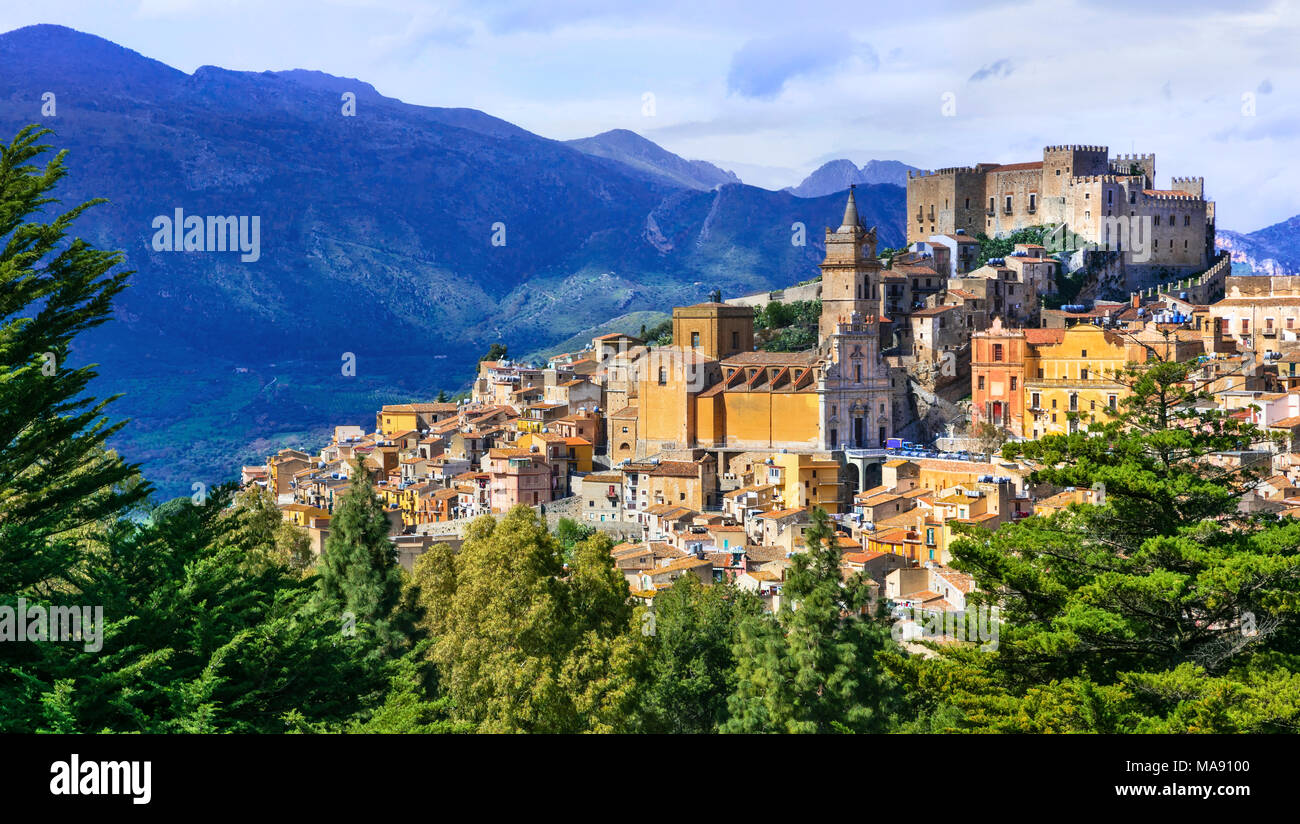 Colorful Caccamo village,view with traditional houses and old castle,Sicily,Italy. - Stock Image