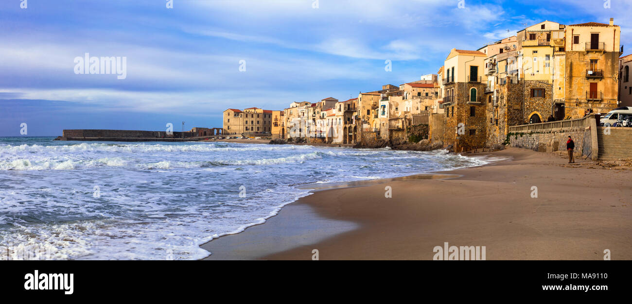 Beautiful Cefalu villageover sunset,Panoramic view,Sicily,Italy. - Stock Image