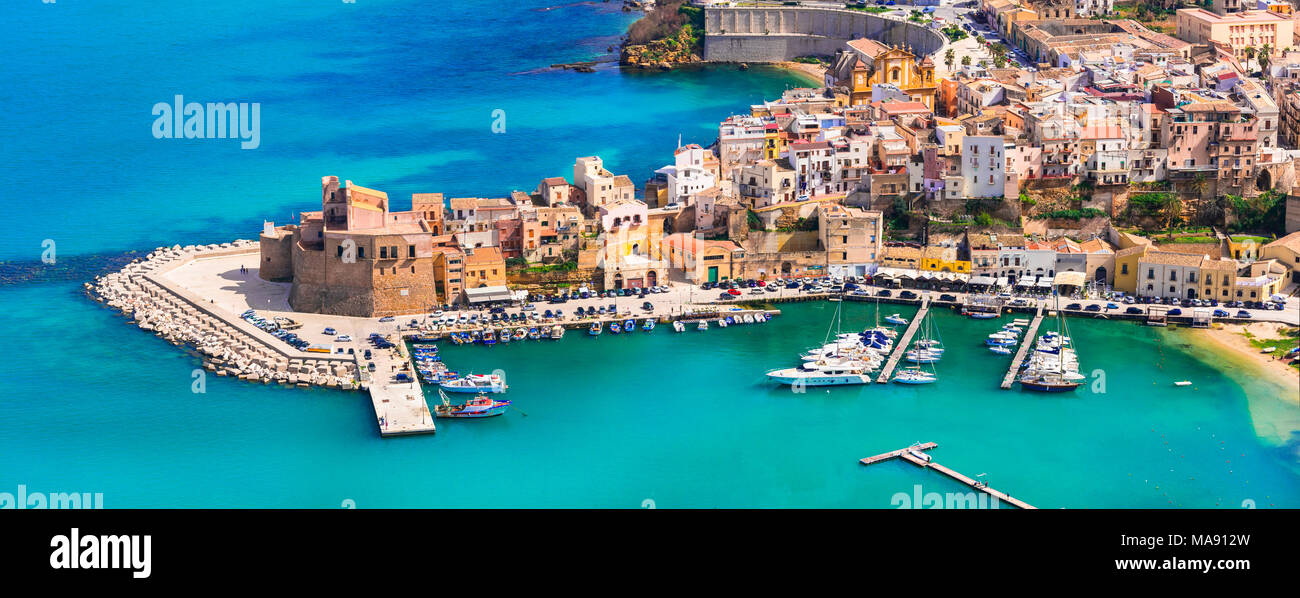 Beautiful Castellammare del Golfo village,panoramic view,Sicily,Italy.. - Stock Image