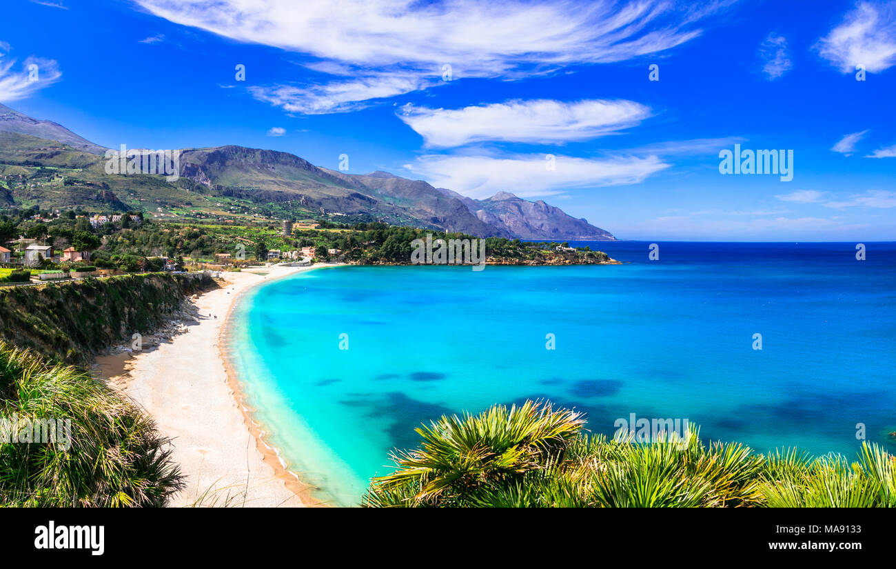 Beautiful Scopello beach,panoramic view,Sicily,Italy. - Stock Image