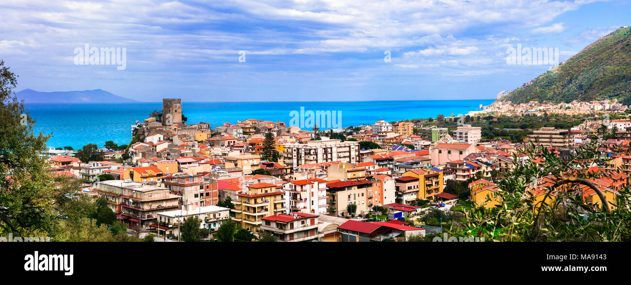 Beautiful Brolo village,panoramic view,Sicily,italy. - Stock Image