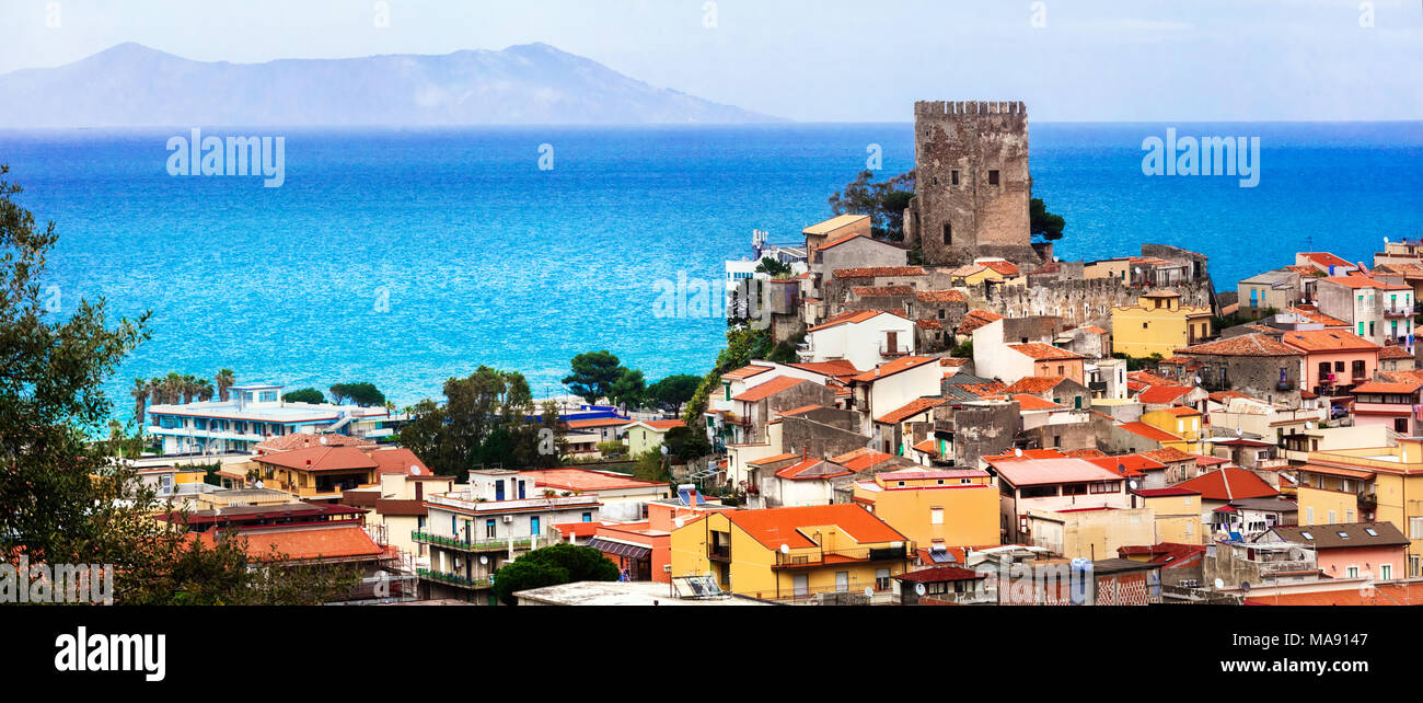 Traditional colorful Brolo village,view with castle and houses,Sicily,Italy. - Stock Image