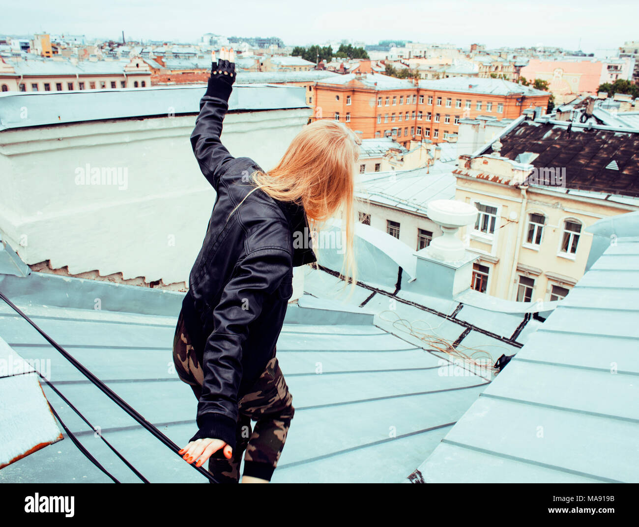 cool blond real girl friends making selfie on roof top, lifestyl - Stock Image