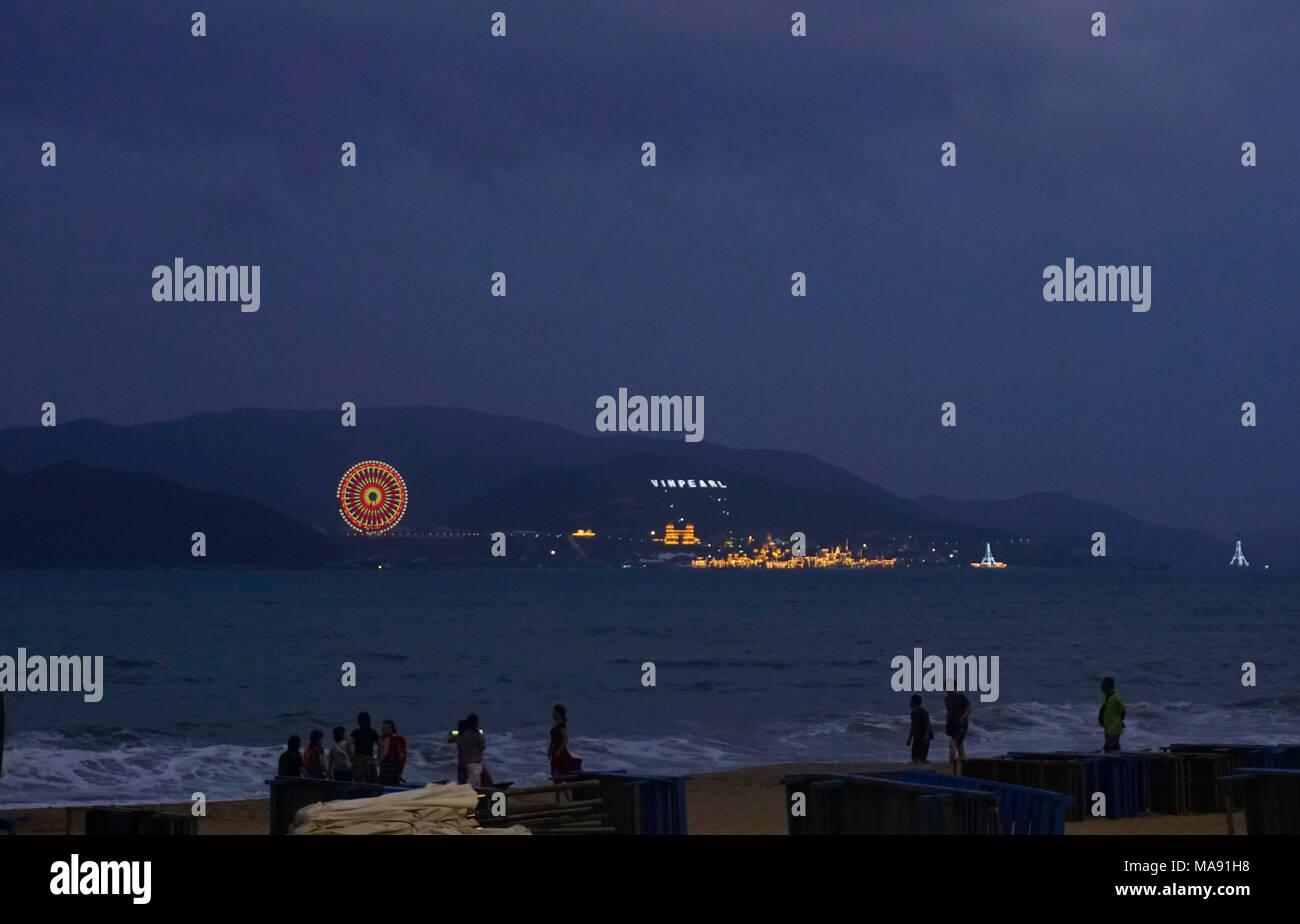 Vinpearl amusement park at night, Nha Trang, Vietnam - Stock Image