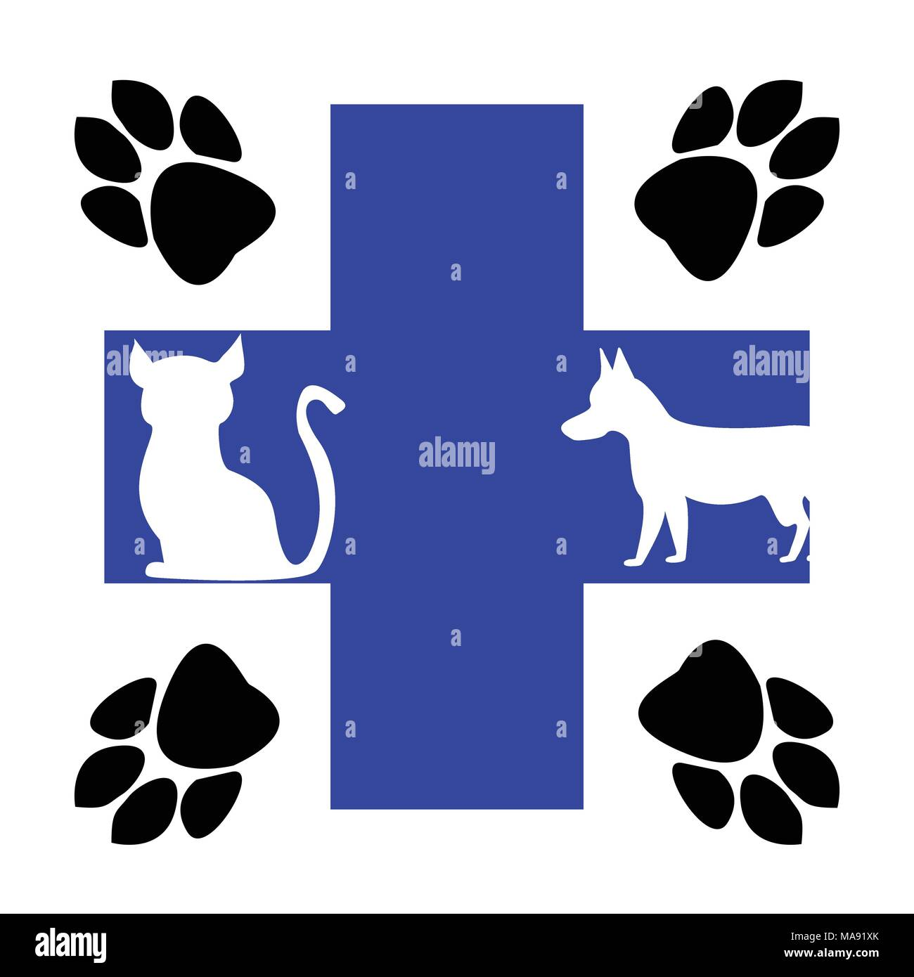 Veterinary blue cross and animal tracks illustration - Stock Image