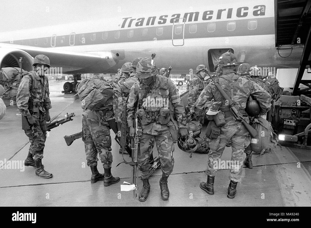 base of the US Air Force in Rhein-Main (Frankfurt, Germany), September 1983, the annual exercise 'Reforger' (Return of Forces to Germany) to monitor times and ways to send reinforcements directly from the USA in case of conflict. - Stock Image