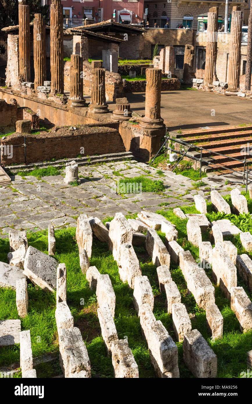 Largo di Torre Argentina is a square in Rome, Italy, with four Roman Republican temples and the remains of Pompey's Theatre. Rome. Lazio. Italy. - Stock Image