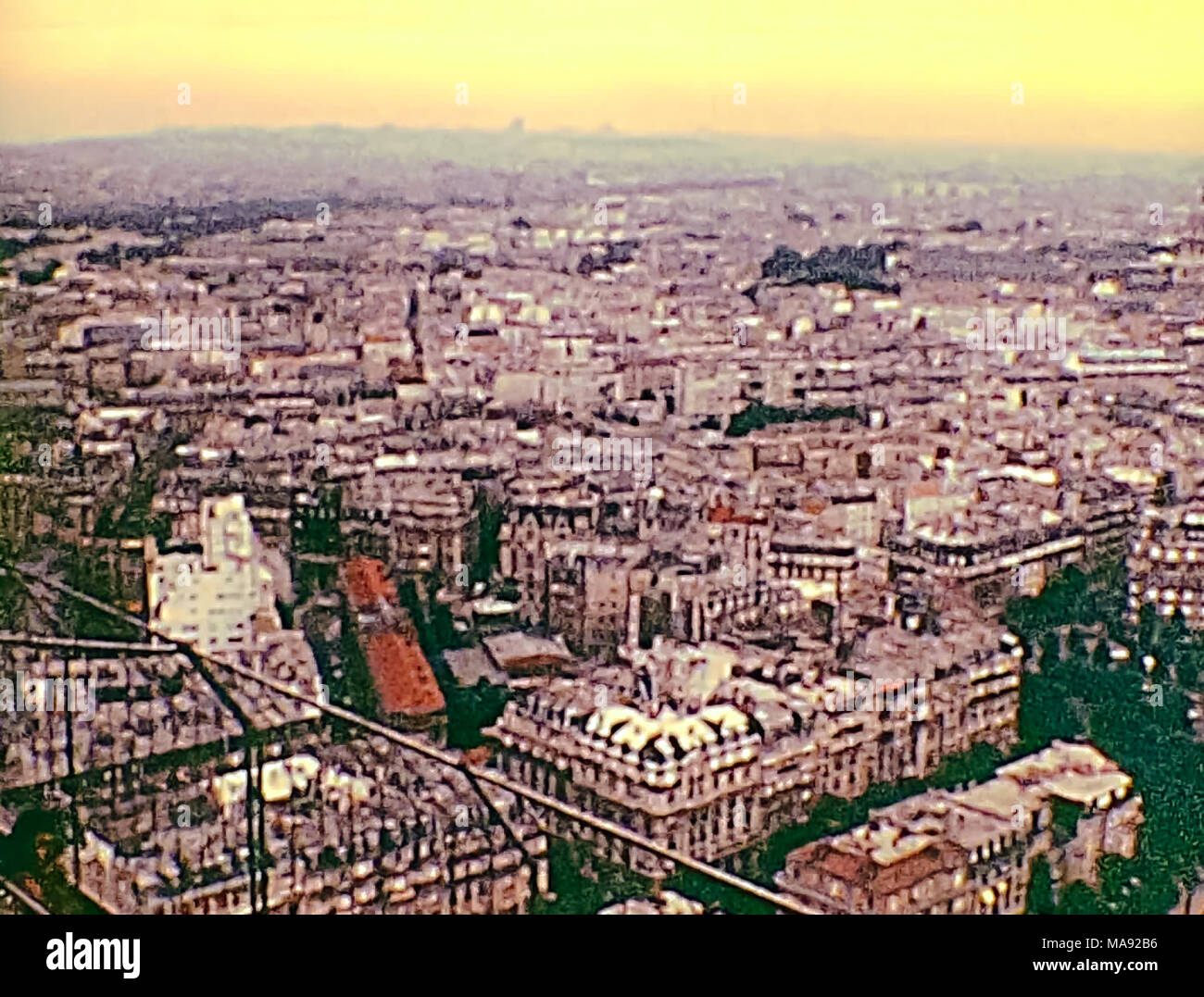 PARIS, FRANCE - CIRCA 1976:  the panorama of Paris from Eiffel Tower. Historic archival footage in Paris city of France in 1970s. - Stock Image