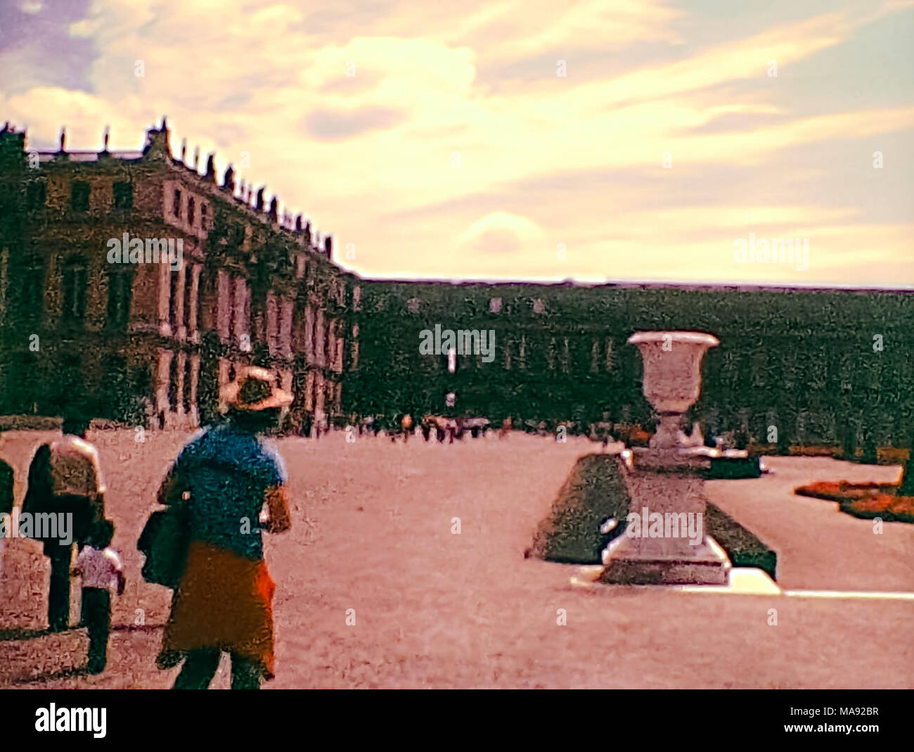 PARIS, FRANCE - CIRCA 1976: the Palace of Versailles with its famous Versailles garden from historic archival footage in Paris city of France in 1970s. - Stock Image