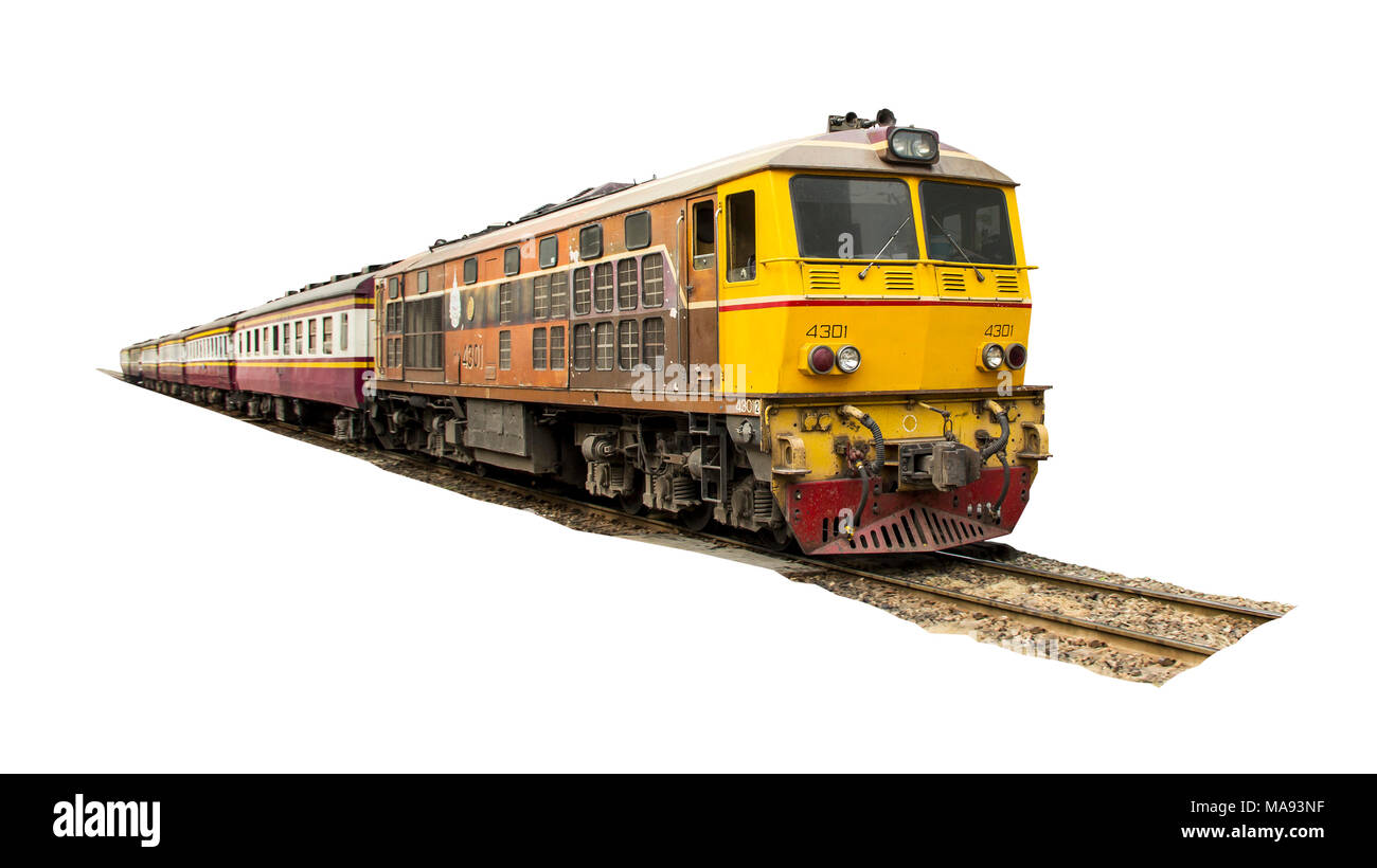 Procession yellow Train led by diesel electric locomotive on the tracks from Thailand isolated on white background. - Stock Image