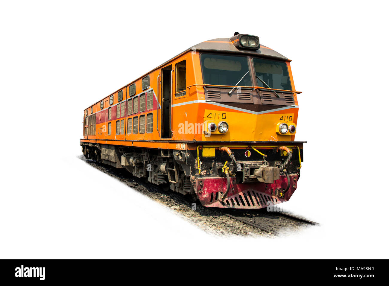 Yellow and Orange Train diesel electric locomotive on the tracks from Thailand isolated on white background. - Stock Image