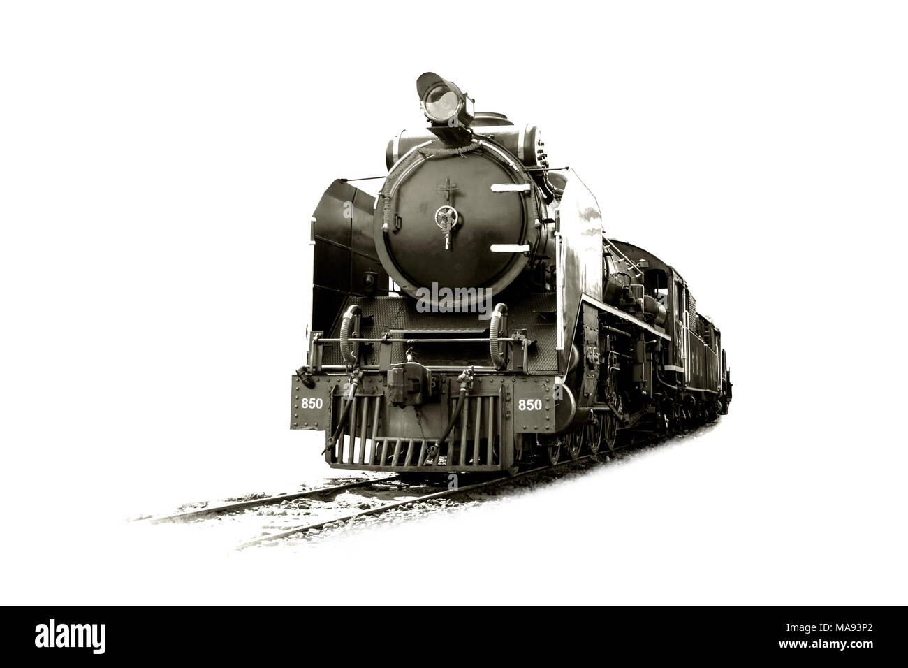 Image black and white retro vintage style of Train Old steam locomotive Pacific on the tracks from Thailand isolated on white background. - Stock Image