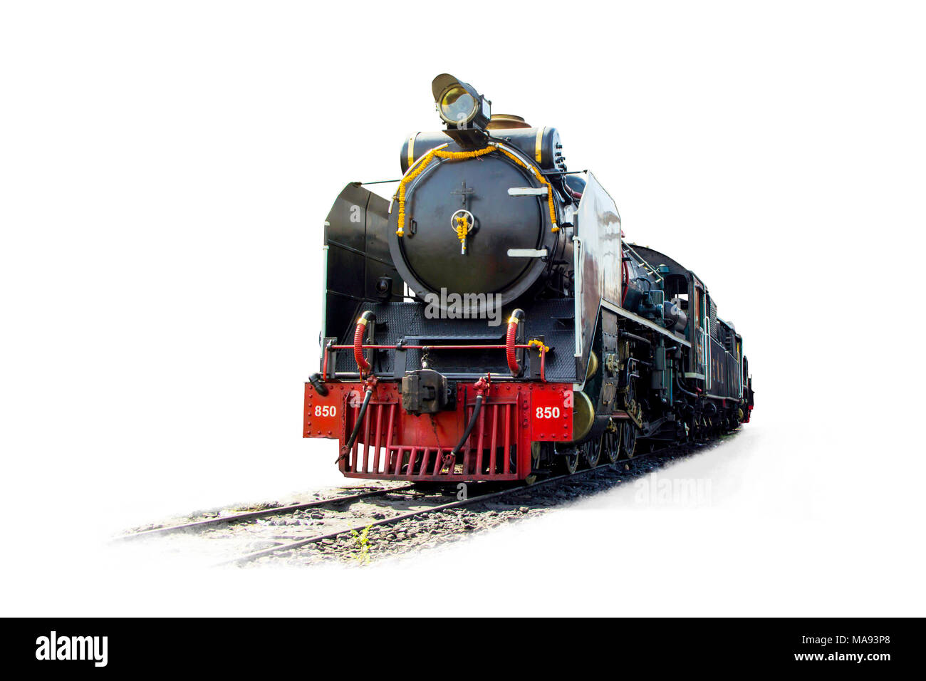 Old steam locomotive Pacific on the tracks from Thailand isolated on white background. - Stock Image