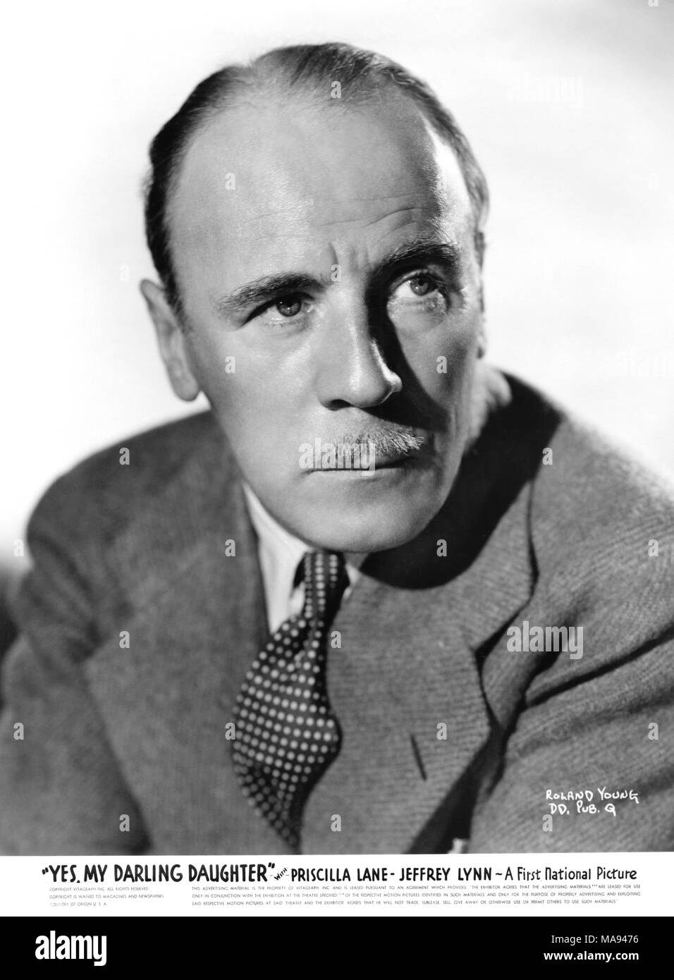 Roland Young, Publicity Portrait for the Film, 'Yes, My Darling Daughter', Warner Bros., 1939 - Stock Image