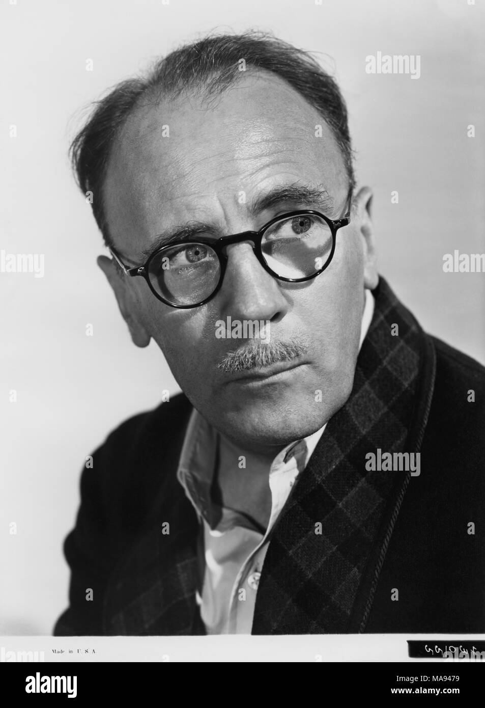 Actor Roland Young, Publicity Portrait Wearing Eyeglasses, 1940 - Stock Image