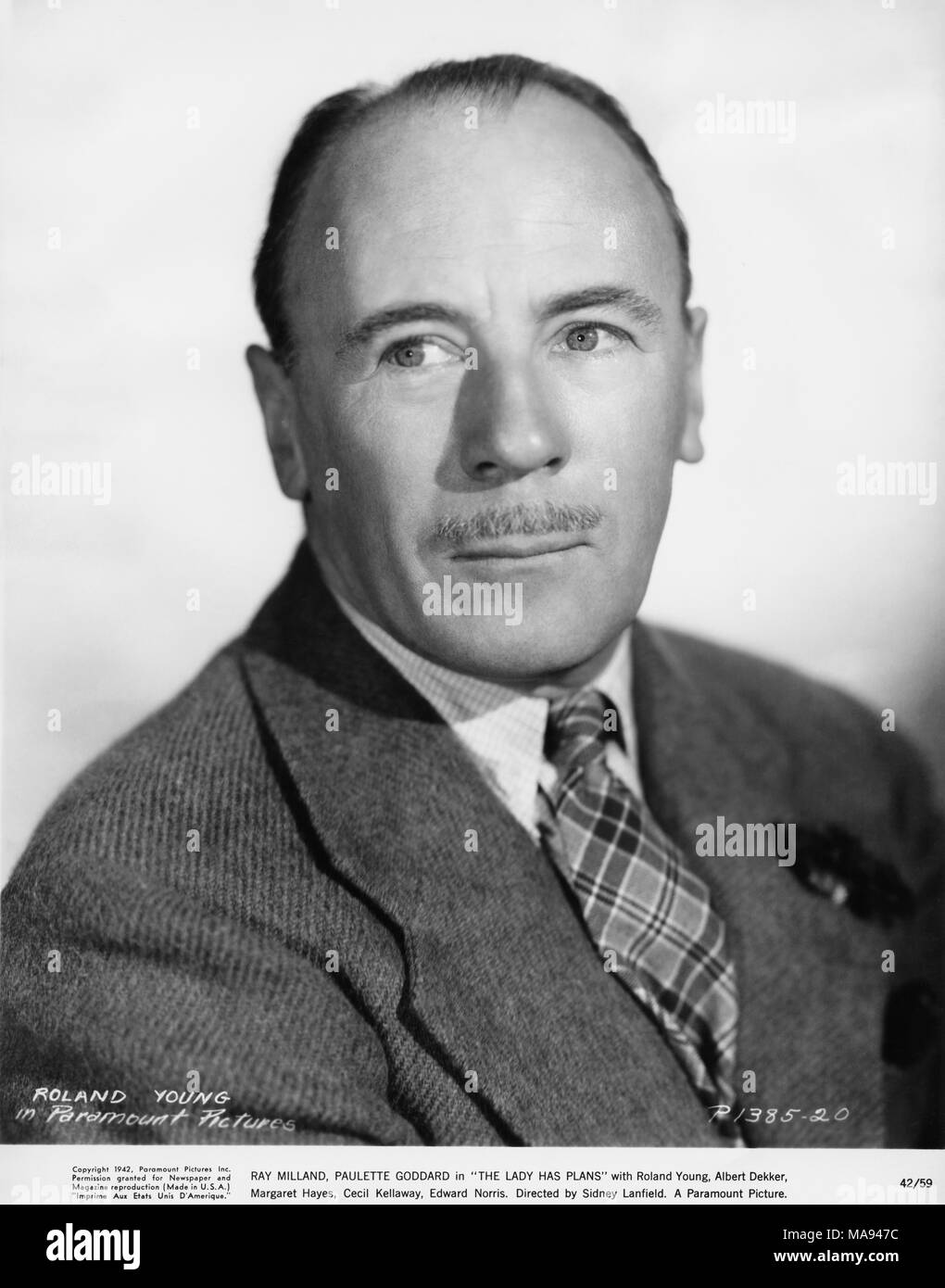 Roland Young, Publicity Portrait for the Film, 'The Lady has Plans', Paramount Pictures, 1942 - Stock Image