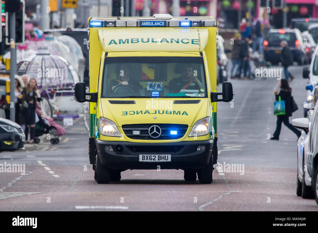accident aid ambulance assistance medic medical medicine occupation paramedic paramedics danger doctor emergency ems urgency urgent vehicle - Stock Image