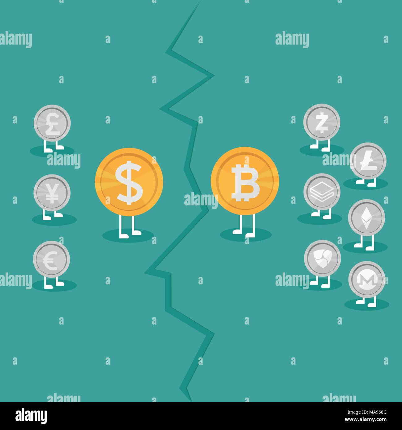 Real money vs Bitcoin virtual money - Crypto Currency Growing concept. Business concept. war between currencies - Stock Vector
